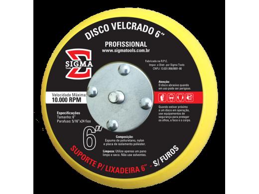 """Disco Velcrado 6"""" Sem Furos Sigma Tools"""